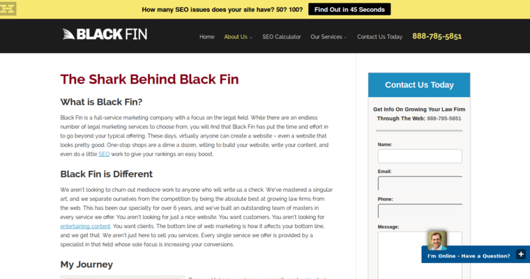 About Page of Top Web Design Firms in California: Black Fin