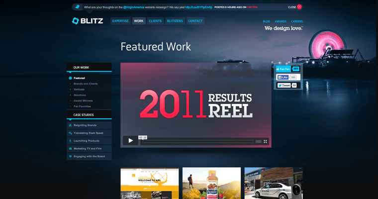 Work Page of Top Web Design Firms in California: Blitz Agency