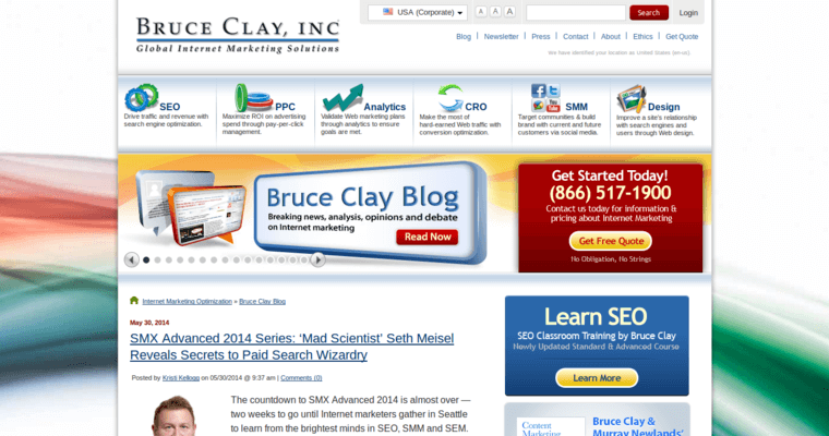 Blog Page of Top Web Design Firms in California: Bruce Clay