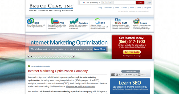 Home Page of Top Web Design Firms in California: Bruce Clay