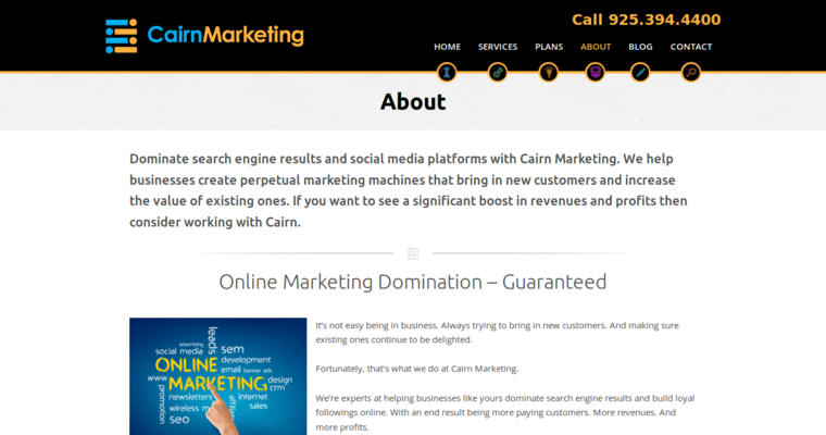 About Page of Top Web Design Firms in California: Cairgn Marketing