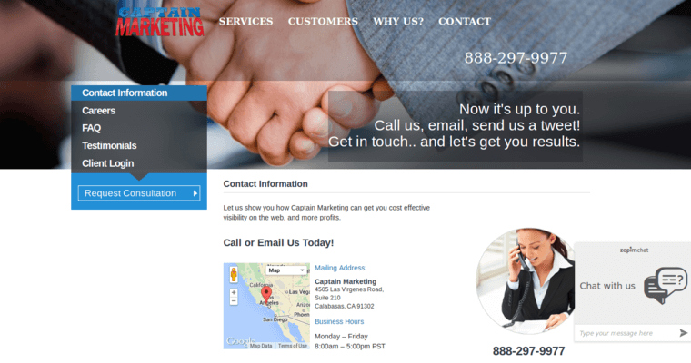 Contact Page of Top Web Design Firms in California: Captain Marketing