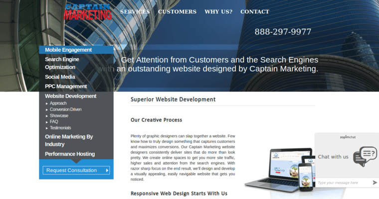 Development Page of Top Web Design Firms in California: Captain Marketing
