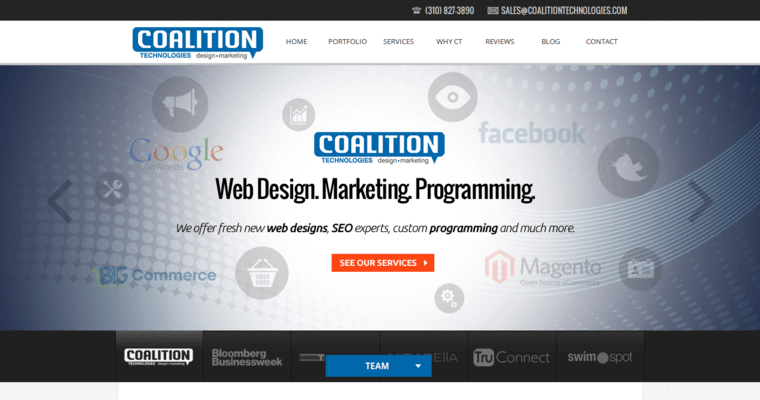 Home Page of Top Web Design Firms in California: Coalition Technologies