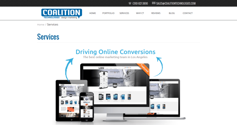 Service Page of Top Web Design Firms in California: Coalition Technologies