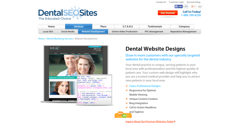 Development Page of Top Web Design Firms in California: Dental SEO Sites