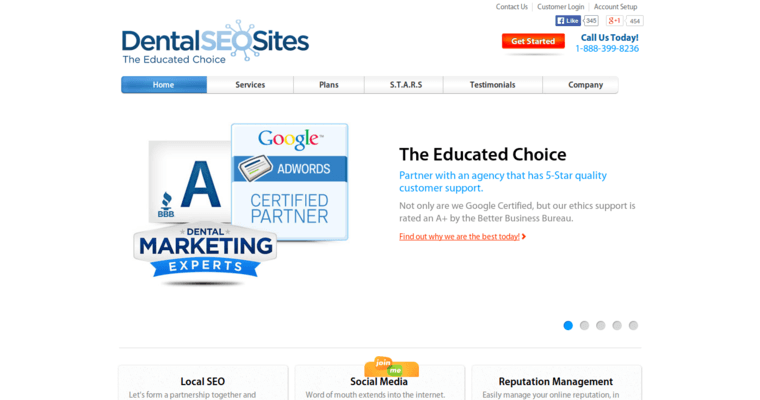 Home Page of Top Web Design Firms in California: Dental SEO Sites