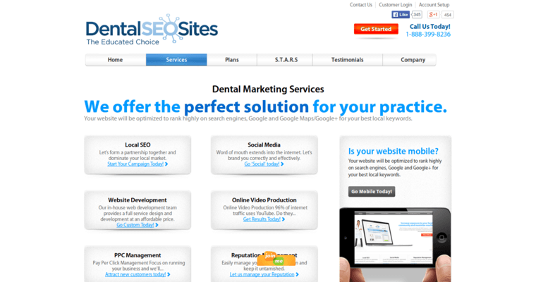 Service Page of Top Web Design Firms in California: Dental SEO Sites