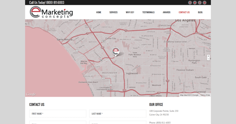 Contact Page of Top Web Design Firms in California: eMarketing Concepts