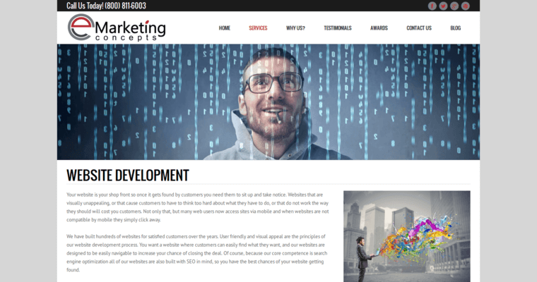 Development Page of Top Web Design Firms in California: eMarketing Concepts