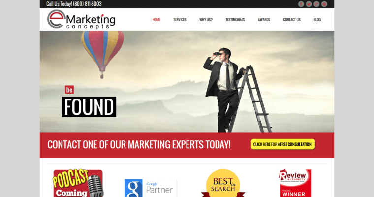 Home Page of Top Web Design Firms in California: eMarketing Concepts