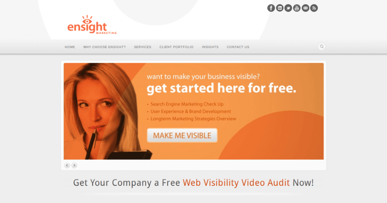 Home Page of Top Web Design Firms in California: Ensight Marketing