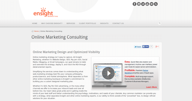 Service Page of Top Web Design Firms in California: Ensight Marketing