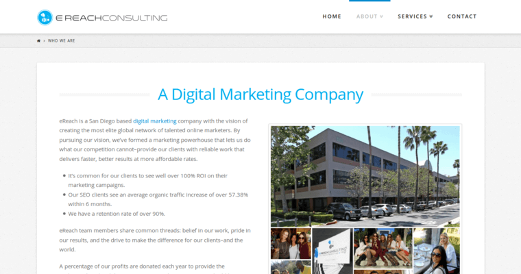 Company Page of Top Web Design Firms in California: eReach Consulting