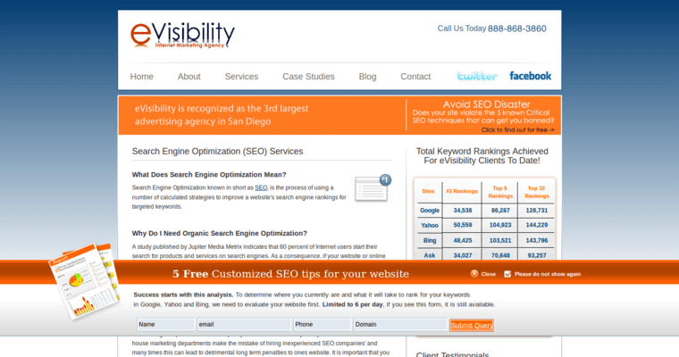 Company Page of Top Web Design Firms in California: eVisibility