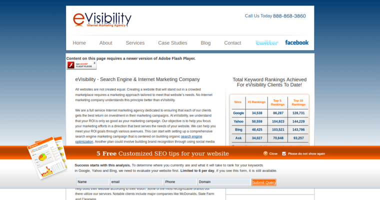 Home Page of Top Web Design Firms in California: eVisibility