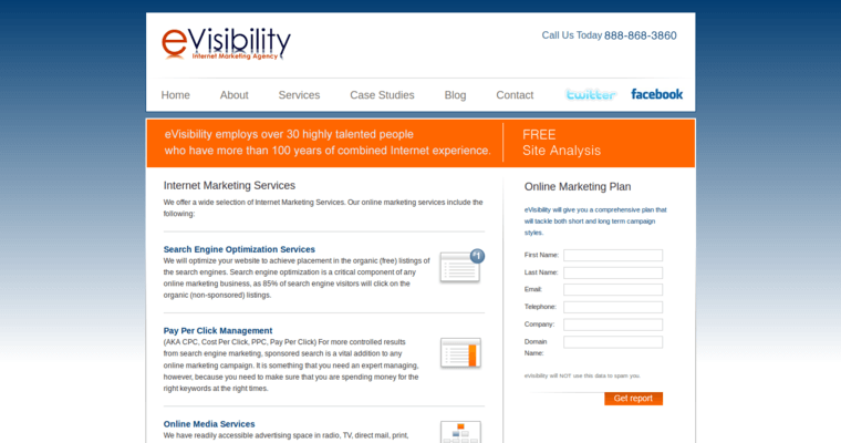Service Page of Top Web Design Firms in California: eVisibility