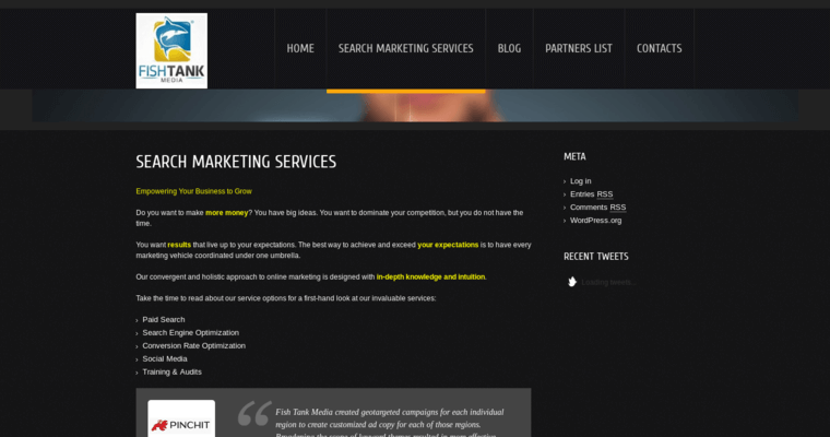 Service Page of Top Web Design Firms in California: Fish Tank Media