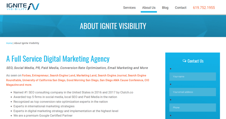 About Page of Top Web Design Firms in California: Ignite Visibility
