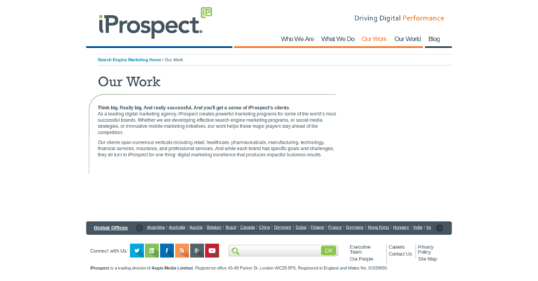 Work Page of Top Web Design Firms in California: iProspect