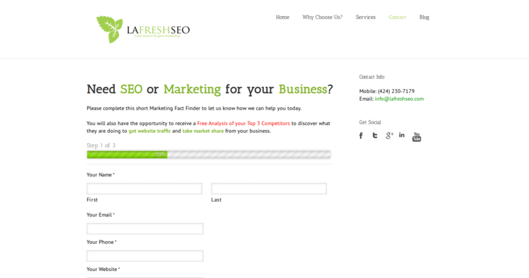 Contact Page of Top Web Design Firms in California: LA Fresh