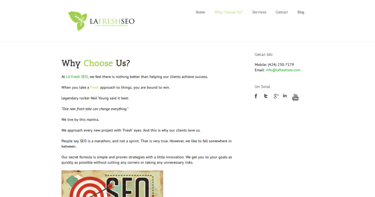 Why Choose Us Page of Top Web Design Firms in California: LA Fresh