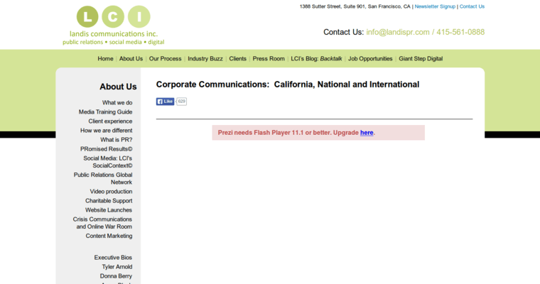 About Page of Top Web Design Firms in California: Landis Communications Inc
