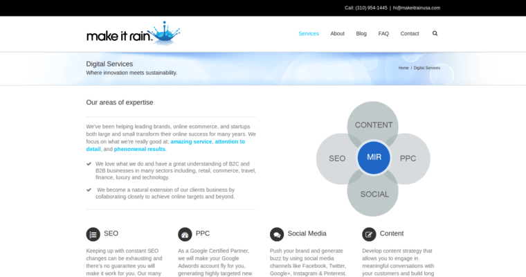 Service Page of Top Web Design Firms in California: Make It Rain