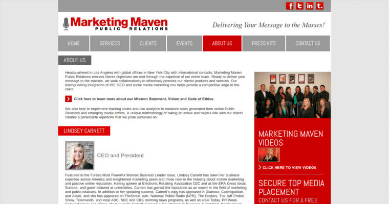 About Page of Top Web Design Firms in California: Marketing Maven
