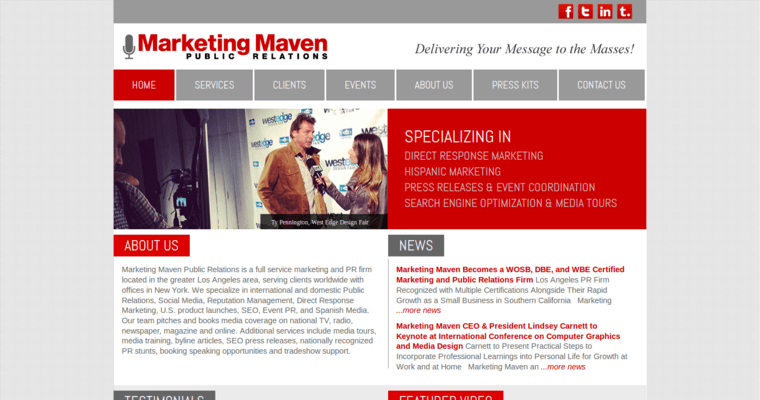 Home Page of Top Web Design Firms in California: Marketing Maven