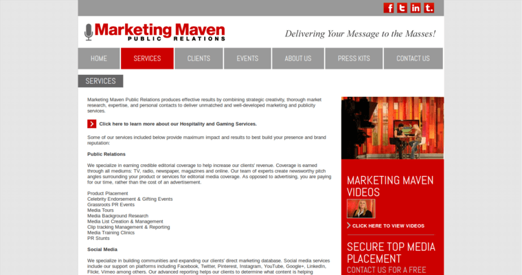 Service Page of Top Web Design Firms in California: Marketing Maven