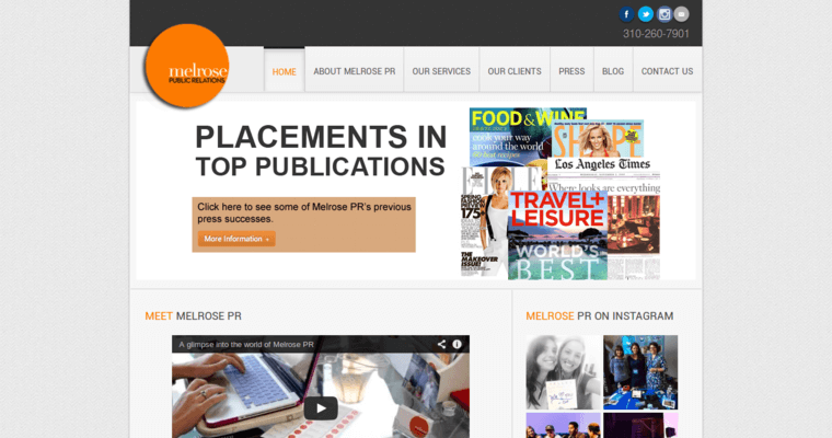 Home Page of Top Web Design Firms in California: Melrose PR