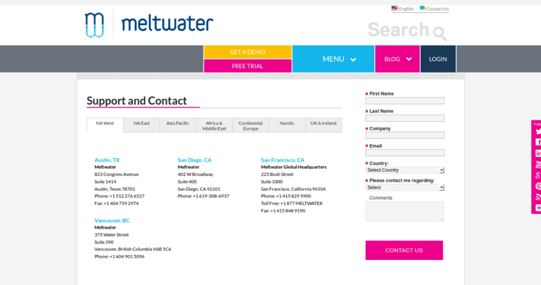 Contact Page of Top Web Design Firms in California: Meltwater