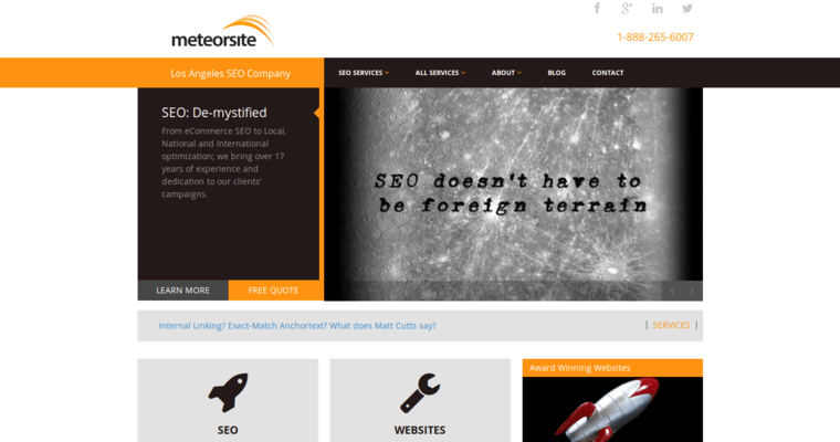 Home Page of Top Web Design Firms in California: Meteorsite