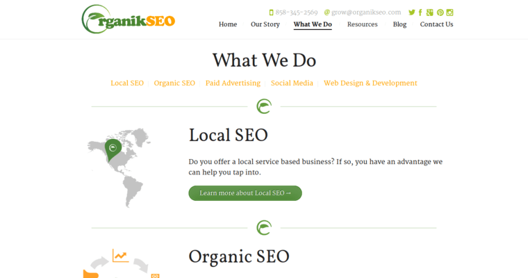 Service Page of Top Web Design Firms in California: Organik SEO