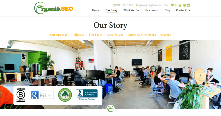 Story Page of Top Web Design Firms in California: Organik SEO