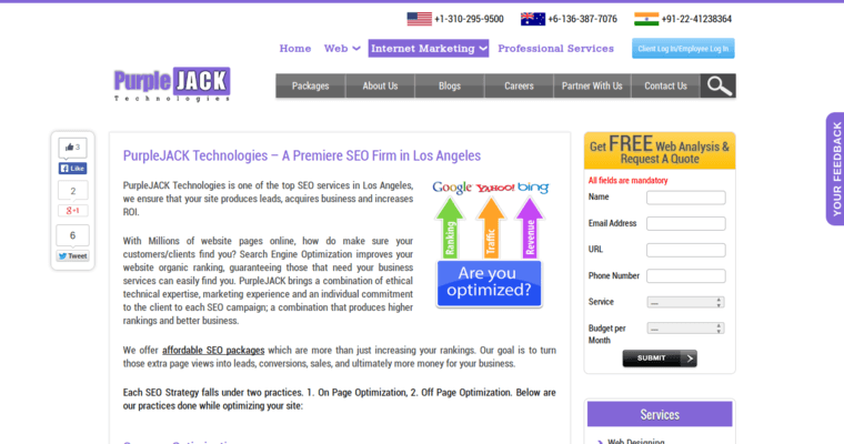 Service Page of Top Web Design Firms in California: PurpleJack