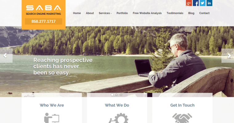 Home Page of Top Web Design Firms in California: Saba