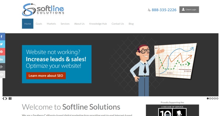 Home Page of Top Web Design Firms in California: Softline