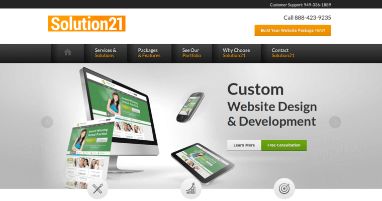 Home Page of Top Web Design Firms in California: Solution21