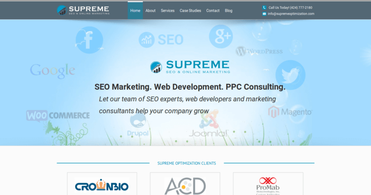 Home Page of Top Web Design Firms in California: Supreme Optimization