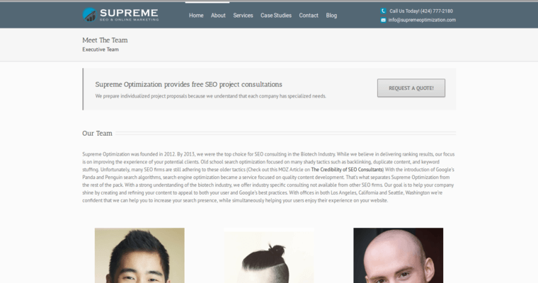 Team Page of Top Web Design Firms in California: Supreme Optimization