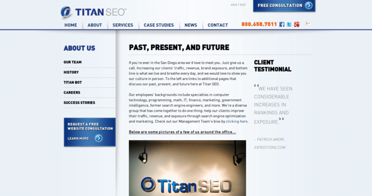 About Page of Top Web Design Firms in California: Titan SEO