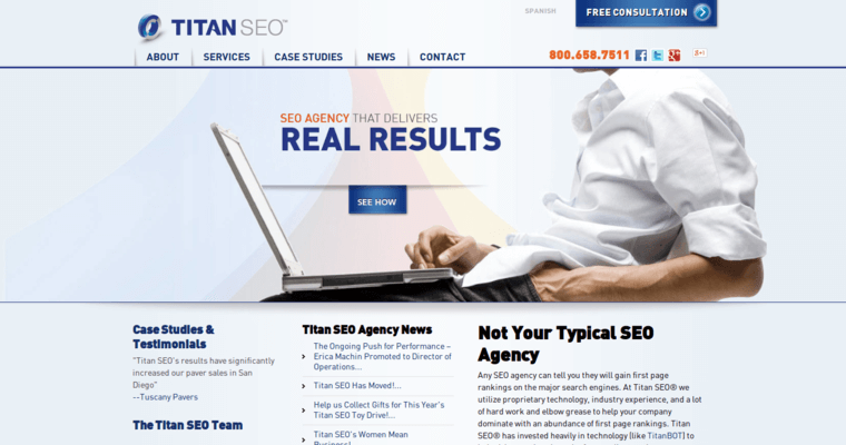Home Page of Top Web Design Firms in California: Titan SEO