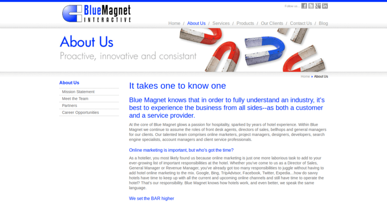 About Page of Top Web Design Firms in Illinois: Blue Magnet Interactive
