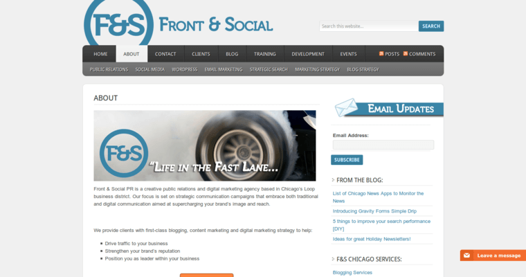 About Page of Top Web Design Firms in Illinois: Front & Social
