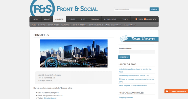 Contact Page of Top Web Design Firms in Illinois: Front & Social