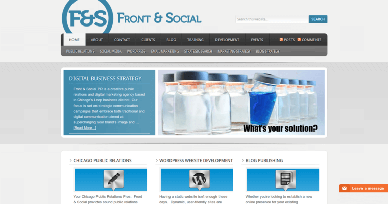 Home Page of Top Web Design Firms in Illinois: Front & Social