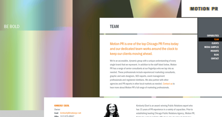 Team Page of Top Web Design Firms in Illinois: Motion PR