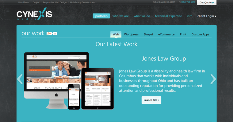 Folio Page of Top Web Design Firms in Ohio: Cynexis